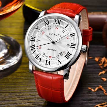 Forini Watches | Bronte | Silver White on Red