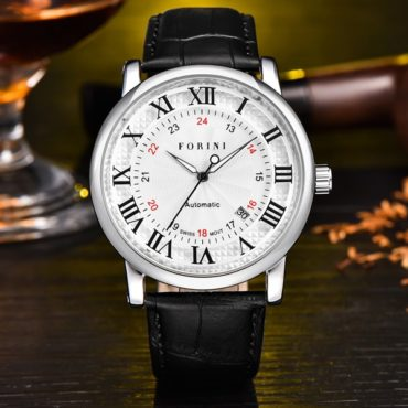Forini Watches | Bronte | Silver White on black