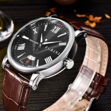 Forini Watches | Keynes | Black Silver on Brown