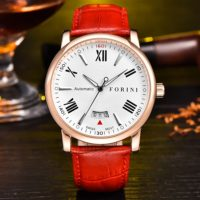 Forini Watches | Keynes | Rose Gold on Red