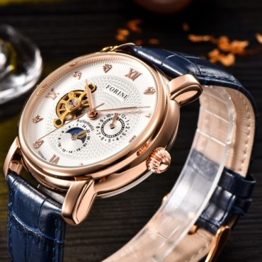 Forini Watches | Tagore | Rose Gold White on Blue