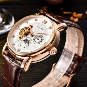 Forini Watches | Tagore | Rose Gold White on Brown