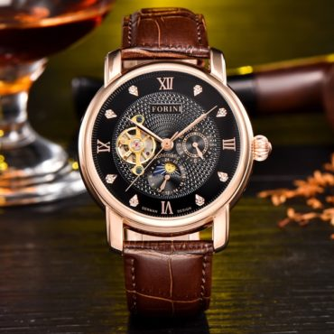 Forini Watches | Tagore | Rose Gold Black on Brown