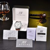 Forini Watches | Bronte | Silver White on brown