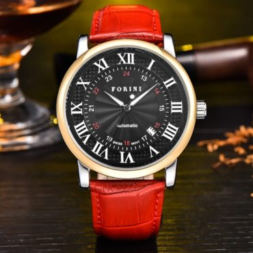 Forini Watches | Bronte | Gold Black on Red